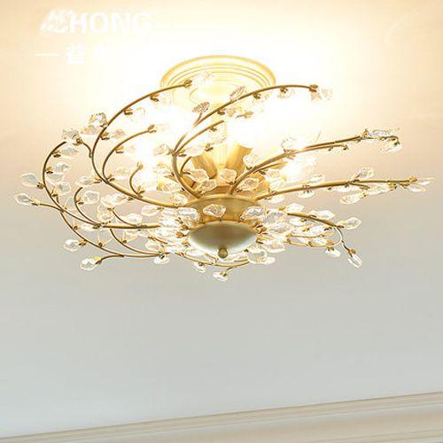 New design American crystal chandelier lamps home living room Plum blossom  chandelier lights restaurant bedroom retro crystal ceiling lamp