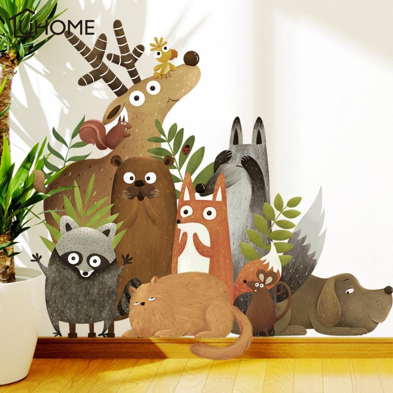 forest animals elk fox rabbit wall stickers for kids room children
