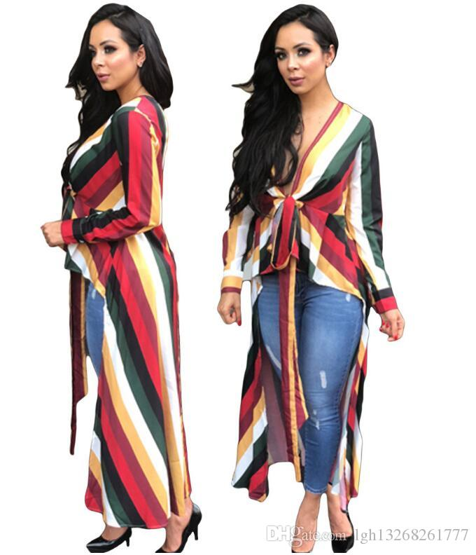 d26ac7433a8c4 2019 mulheres sexy Listrado Profundo decote em v Longo Camisetas senhoras  completa manga lace up irregular Blusas Camisas Casuais Roupas Femininas ...