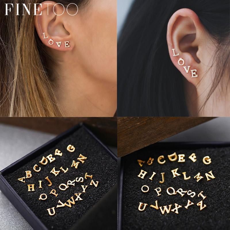 2019 Fashion Gold Color A Z Alphabet Letter Stud Earrings Set Tiny