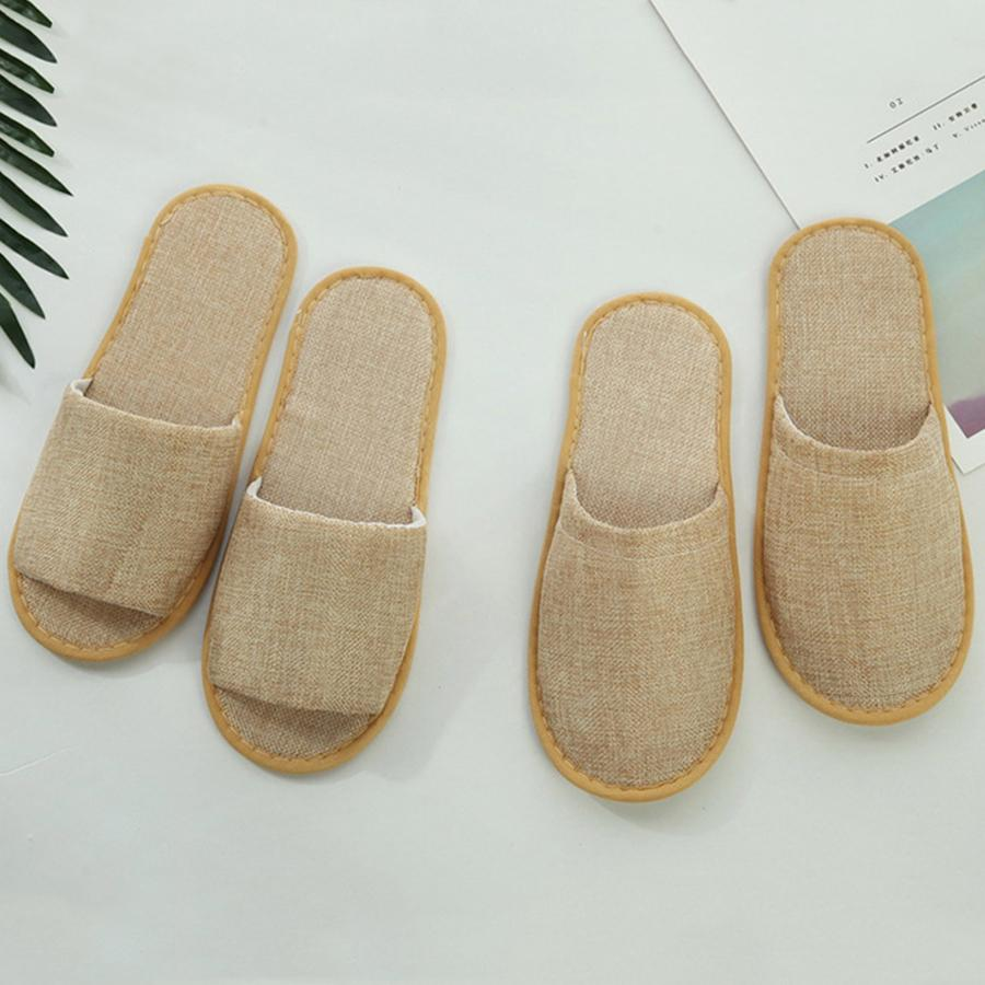 f4d238baeb4341 Thicken Disposable Slippers Cotton Linen Home Guest Open Toe Shoes ...