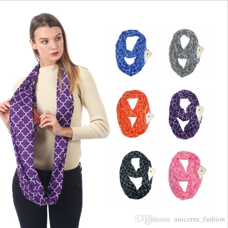 Convertible Women Infinity-Scarf with Hidden Zipper Pocket Loop Secure Warm Travel Couple Scarves Xmas Gift 100pcs cny915
