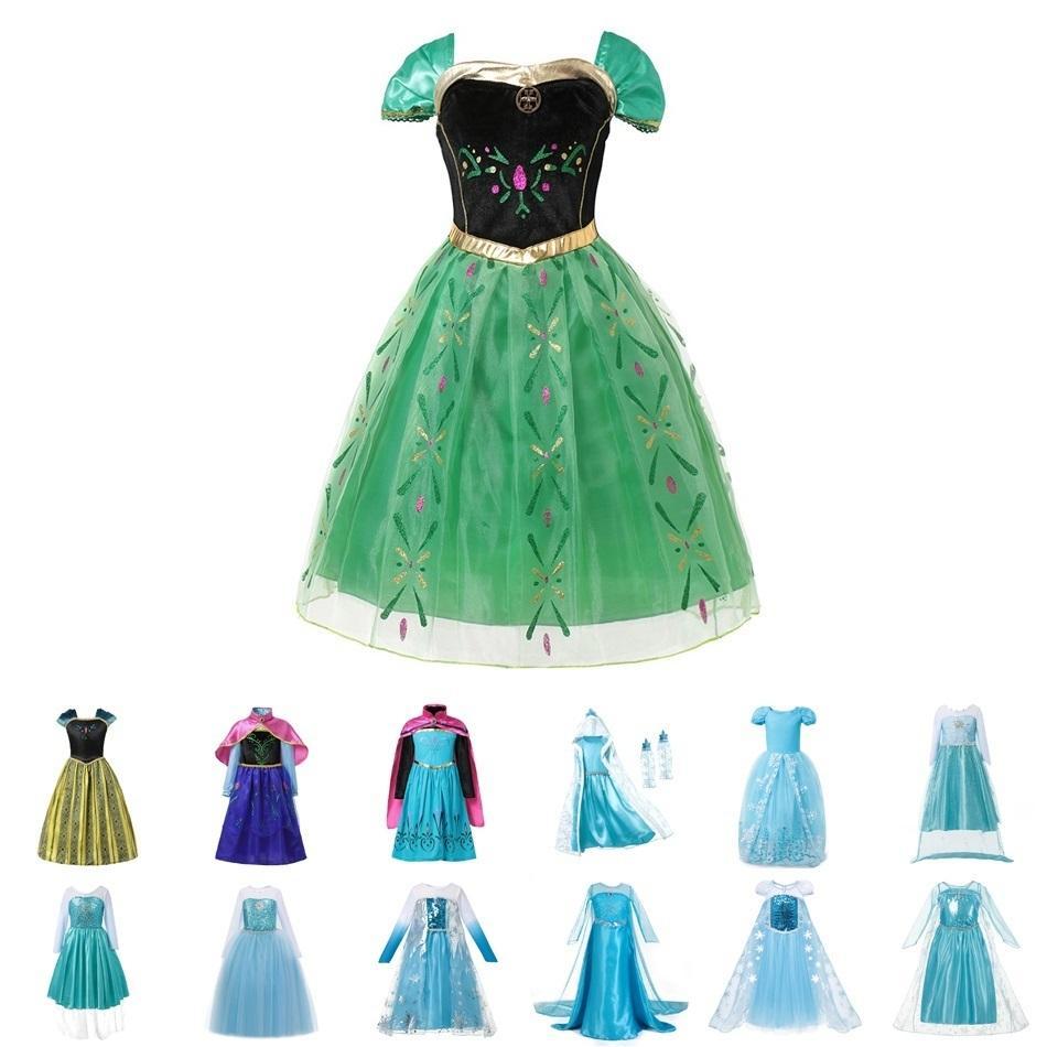 c009e252da Muababy Girls Anna Elsa Dress Up Children Floral Fairy Tale Cinderella  Princess Costume Snow Queen Elza Halloween Fancy Dress Q190522