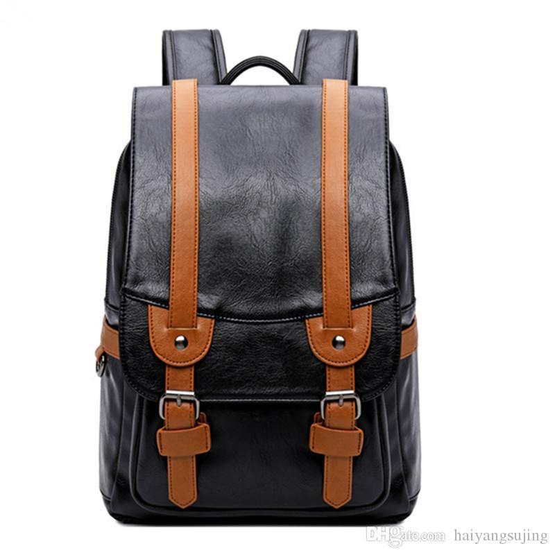 l'ultimo 445b4 be187 Zaino per studenti di scuola media college cuciture colore contrasto pu  impermeabile maschio zaino retrò uomini borse per pc borsa da viaggio ...