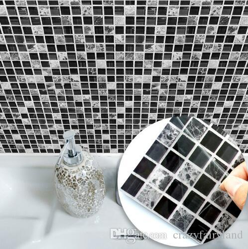 Self Adhesive Mosaic Tile Sticker,Kitchen Backsplash Bathroom Wall Tile Stickers Decor Waterproof Peel&Stick PVC Tiles