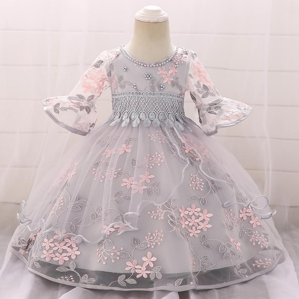 5fc3565d56e 2019 Girls Baby Princess Dresses Kids Ball Gown Wedding Dress Embroidered  Lace See Through Potal Sleeve Beaded Bubble Tutu 70 150cm From Bowie1228a