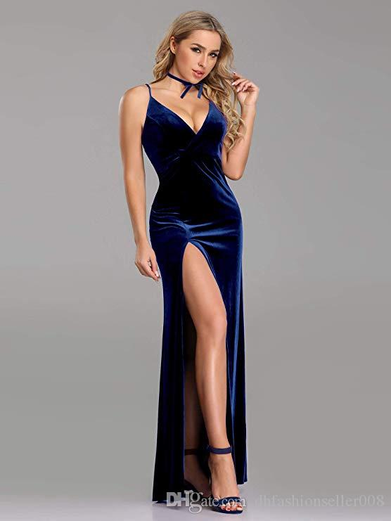 2018 New Simple Sexy Velvet Fabric Comfortable Close-fitting Fishtail Open-fork Prom Dress Perfectly Reflects Your Perfect Body Become the F