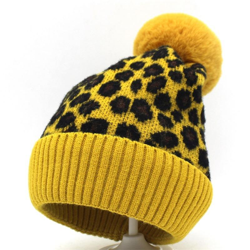 Adult Kids Winter Hats With Pompom Fleece Knitted Fur Hat Girls Cute Beanies  Yellow Khaki Red Leopard Print Bonnet Ski Caps Warm Black Baseball Cap  Knitted ... eb87462d0ca