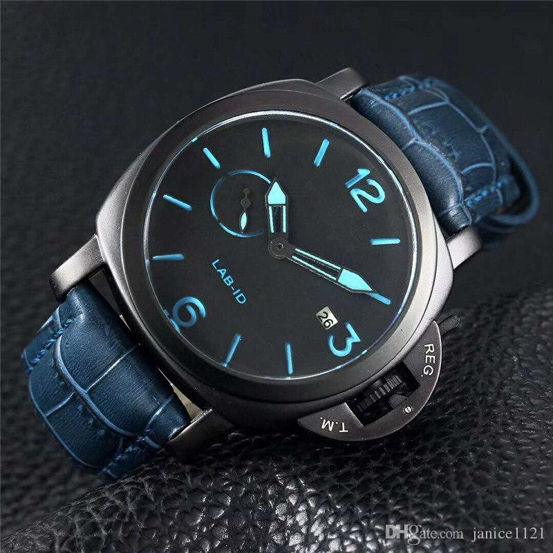 Brand Limited Edition 1950 PVD Black Carbon Fiber Case 00700 LAB-ID 700 Black Dial Quartz Mens Watch Leather Strap Luxury Gents Watches