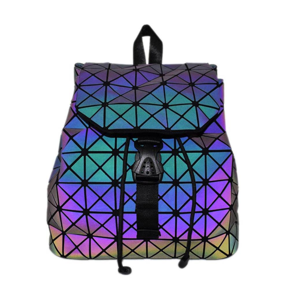 d599caf849 Women Laser Luminous Backpack Mini Geometric Shoulder Bag Folding ...