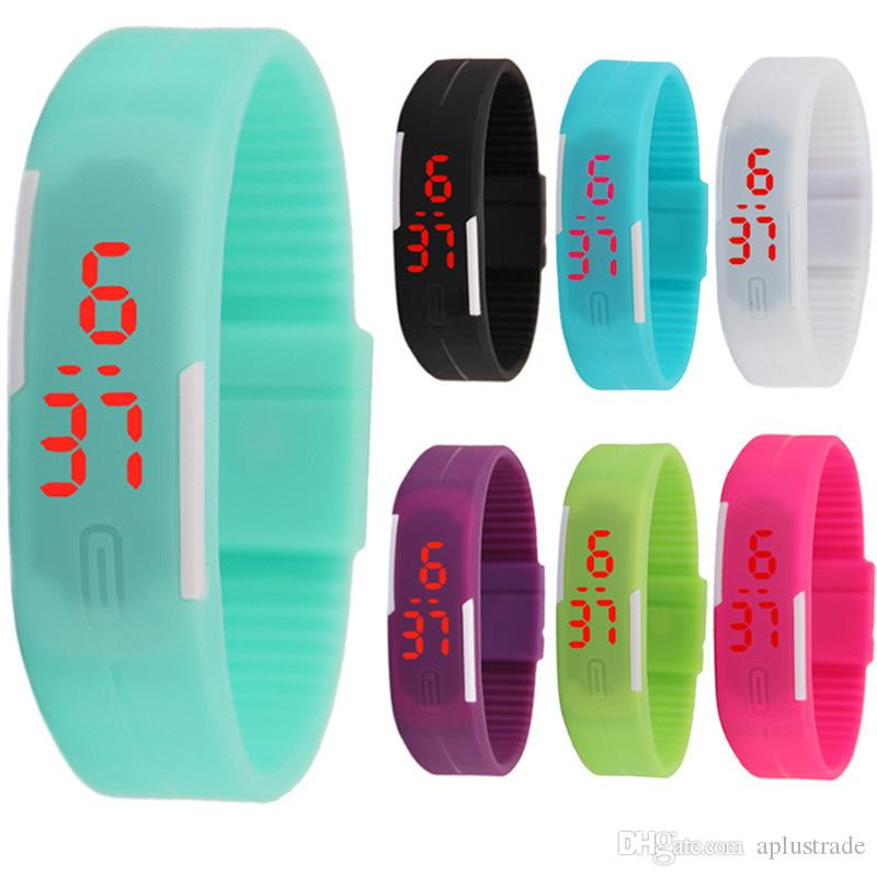 Girl Boy Kids Colorful Sport LED Watches Candy Jelly Men Women Silicone Rubber LED Screen Digital Watch Bracelet Band Wristwatch