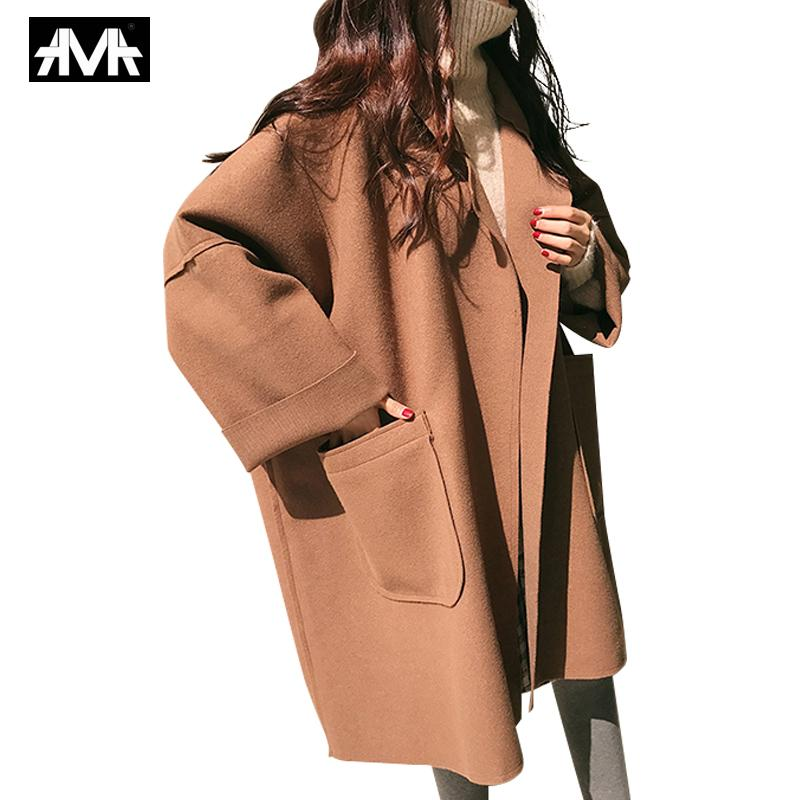 2019 Coat Female Autumn Fashion Women Brown Coat Long Style Pocket Woolen Ladies Casual Solid Loose Black Oversize