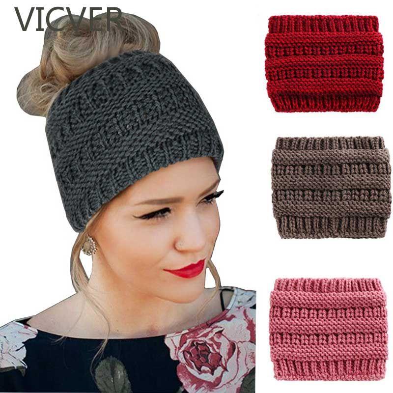 2018 Women Ponytail Beanie Hat Winter Skullies Beanies Warm Cap Casual  Crochet Ear Warmer Headwrap Female Soft Knit Woolen Hats Ladies Hats Crazy  Hats From ... f44e712d21c