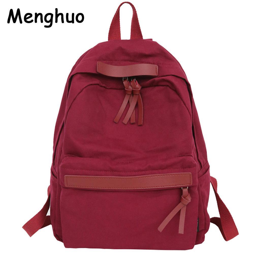 c9a7e62d66f8 Menghuo High Quality Women Canvas Backpack Teenage Girls Leisure Backpack  Bag Vintage Stylish Female School Bag Bookbag Mochilas Y18110202 Water  Backpack ...