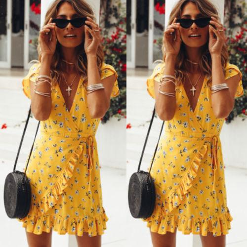 8e4d294d43900 Fashion Women Summer Holiday V Neck Short Mini Dress Sexy Ruffle Short  Sleeve Lace up Bodycon Yellow Floral Print