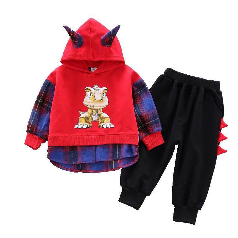 2019 new autumn casual baby suits baby boy clothes dinosaur kids outfits boys designer clothes boys clothing sets Hoodies+harem pants A6594