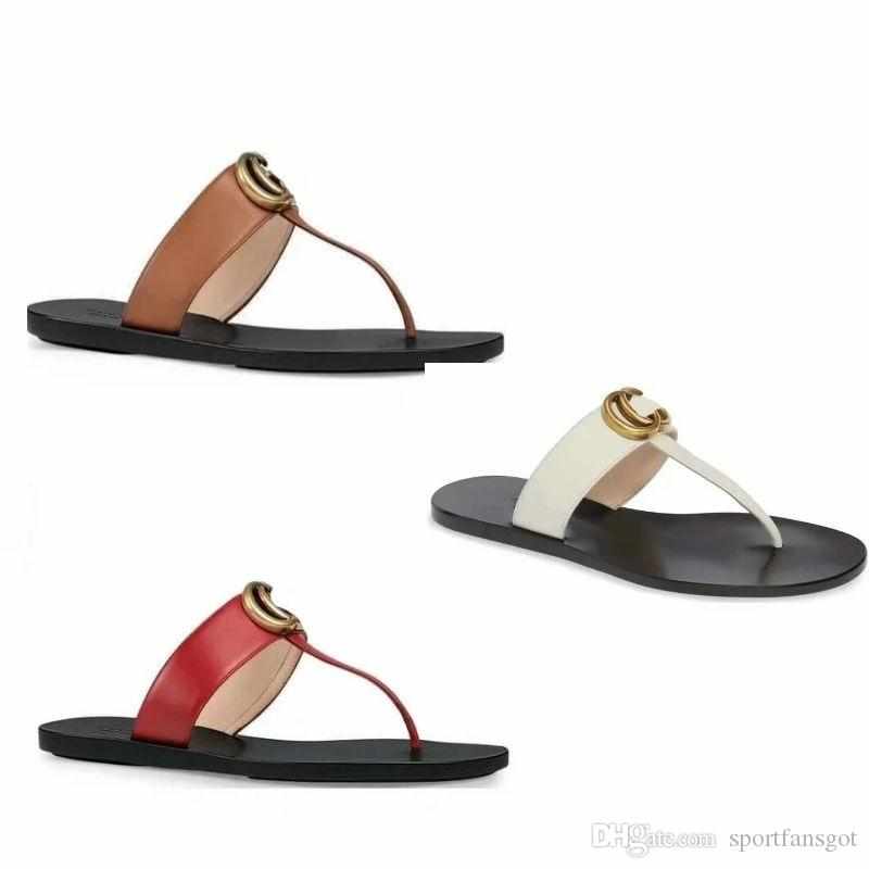 90010a449 2019 Designer Men Women Slippers Leather Thong Sandal Slippers Flat Black  White Red Golden With Double Letter With Box Reef Sandals Gold Shoes From  ...