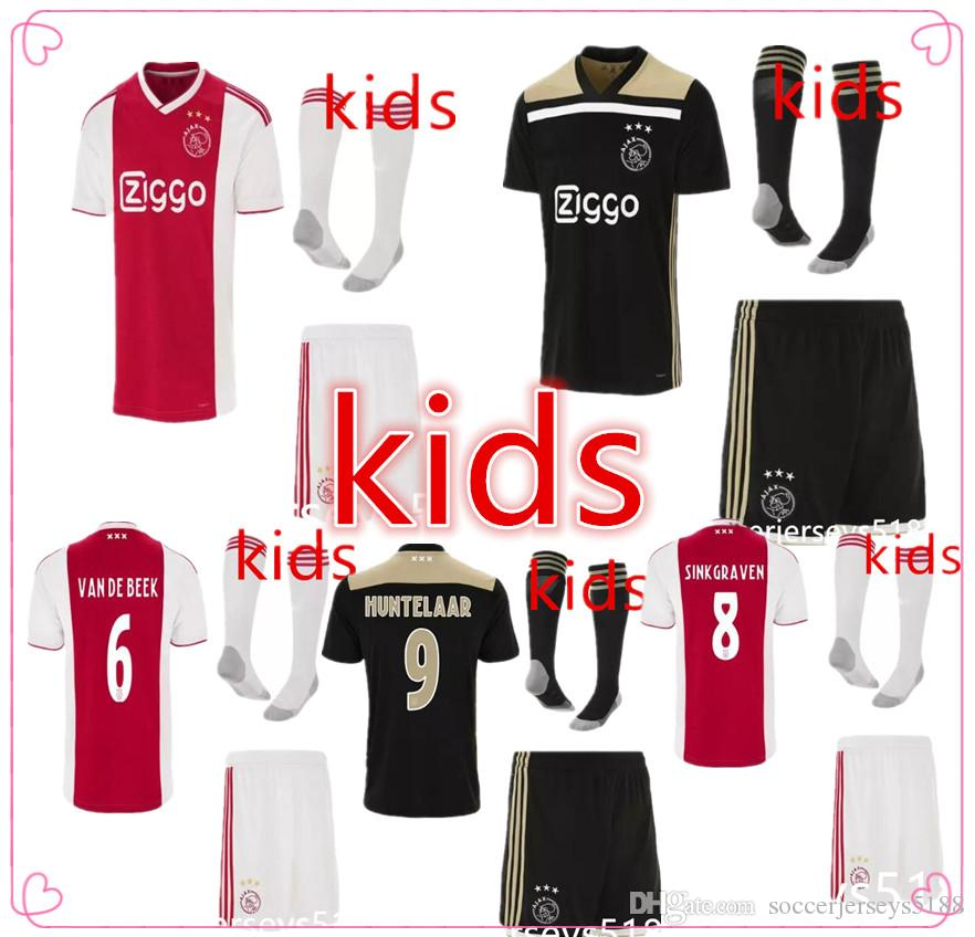 18/19 Ajax Kids Soccer Jersey Kits VAN DE BEEK HUNTELAAR ZIYECH maillot de foot camisa futebol 2018 2019 ajax Child Football Shirt+shorts
