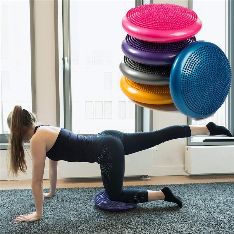 Compre Yoga Media Bola 33 Cm Masaje Inflable Bola De Yoga Universal Sports  Gym Wobble Estabilidad Equilibrio Disco Ejercicios Cojín Mat C18112601 A   33.8 ... a18144e53ad7
