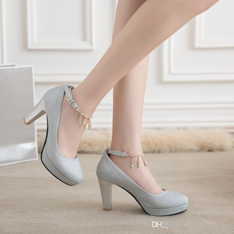 Plus size 35 to 40 41 42 43 44 45 46 Glitter rhinestone chain thick high heels wedding shoes sexy women designer shoes