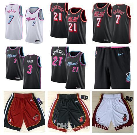 2018-19 Season Men 21 Whiteside 3 Wade 7 Drazic Embroidery Logo City  Edition Jersey Ball Pants 21 Whiteside Jersey 3 Wade Jersey 7 Drazic Jersey  Online with ... 8485d04ee