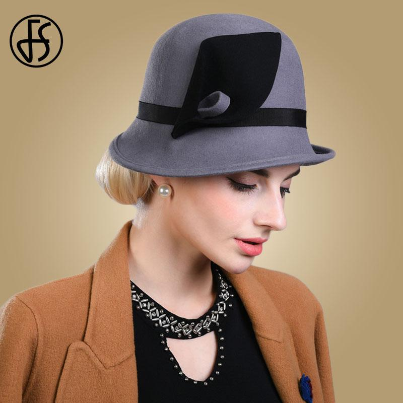FS Black Hat Women Elegant Winter 2019 Wool Felt Hats Female ... d1ab77b8f2e4