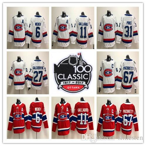 d5bf603ce1d 2019 2018 Montreal Canadiens 100 Classic 31 Carey Price 6 Shea Weber 92  Jonathan Drouin 67 Max Pacioretty 11 Brendan Gallagher Hockey Jersey From  Slinesten, ...