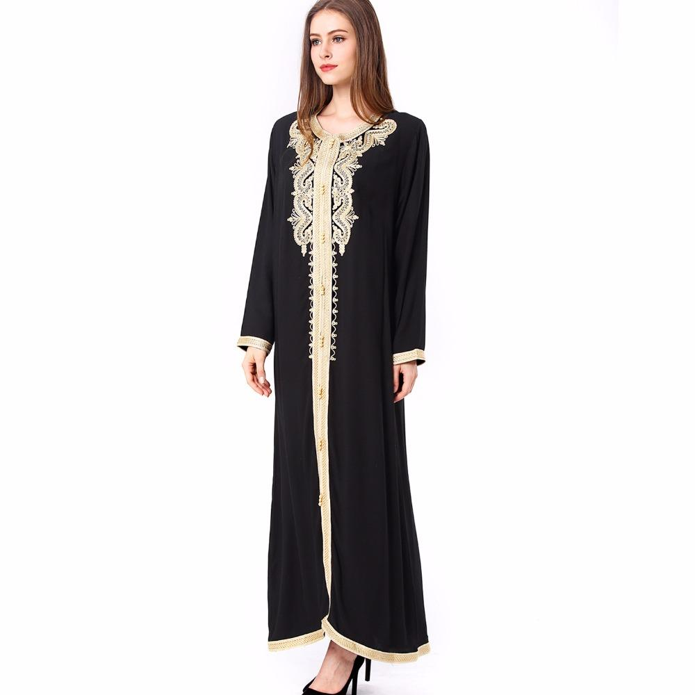 14dca6224f0 Plus Women Maxi Long Sleeve Long Vintage Plus Size Embroidery Moroccan  Kaftan Islamic Clothing Muslim Dress Floor Length Gown Fall Dresses For  Women ...