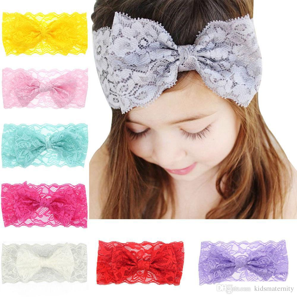 8colors Baby Girls big bow lace headband infants sweet fashion lace bowknot wide hairband elastic hair accessory for kids gifts