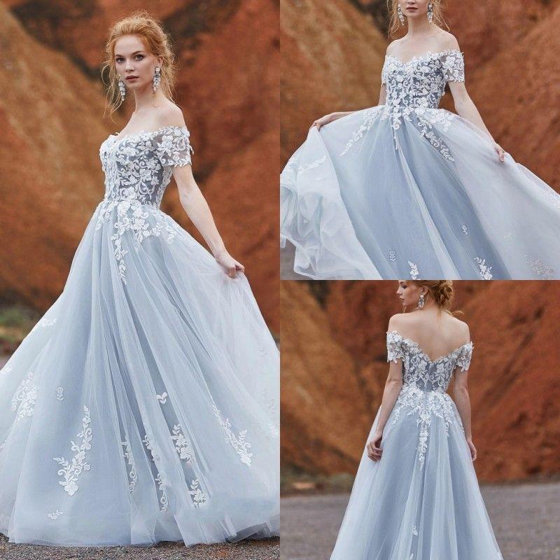 9ec0b035856 Discount CocoMelody 2019 Wedding Dresses Off Shoulder Lace Appliques  Bohemian Bridal Gowns Sweep Train A Line Wedding Dress Plus Size Robe De  Mariée Wedding ...