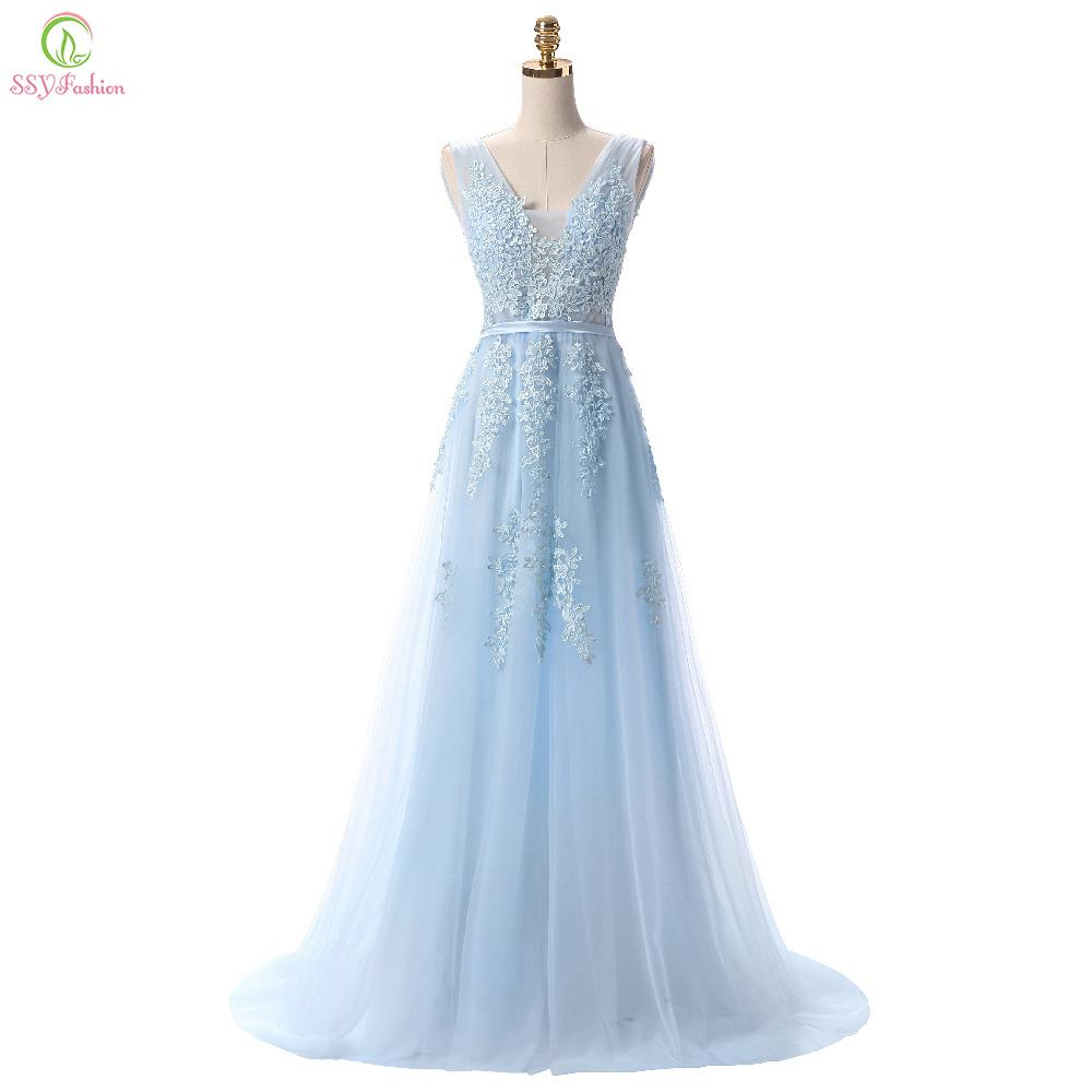 2019 SSYFashion Hot Sell Sweet Light Blue Lace V Neck Lacing Long Evening  Dress The Bride Party Sexy Backless Prom Dresses Custom D18122903 From  Xiao0002 b9850d70d54d