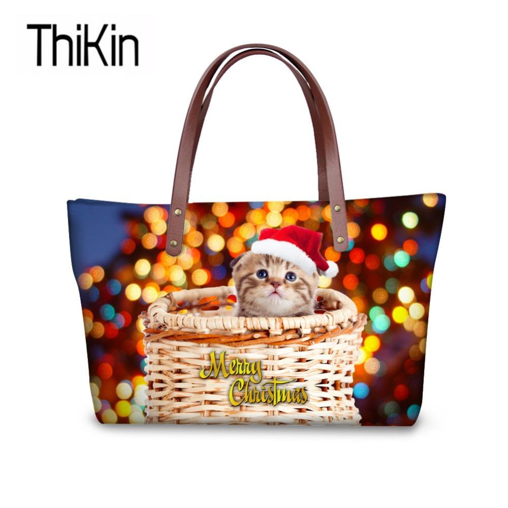 cbb850cbac97d THIKIN Women Top Handle Bags 3D Christmas Cat Printing Handbag Ladies Large  Capacity Shoulder Tote Bags For Teen Book Bolsa Leather Purse Womens Purses  From ...