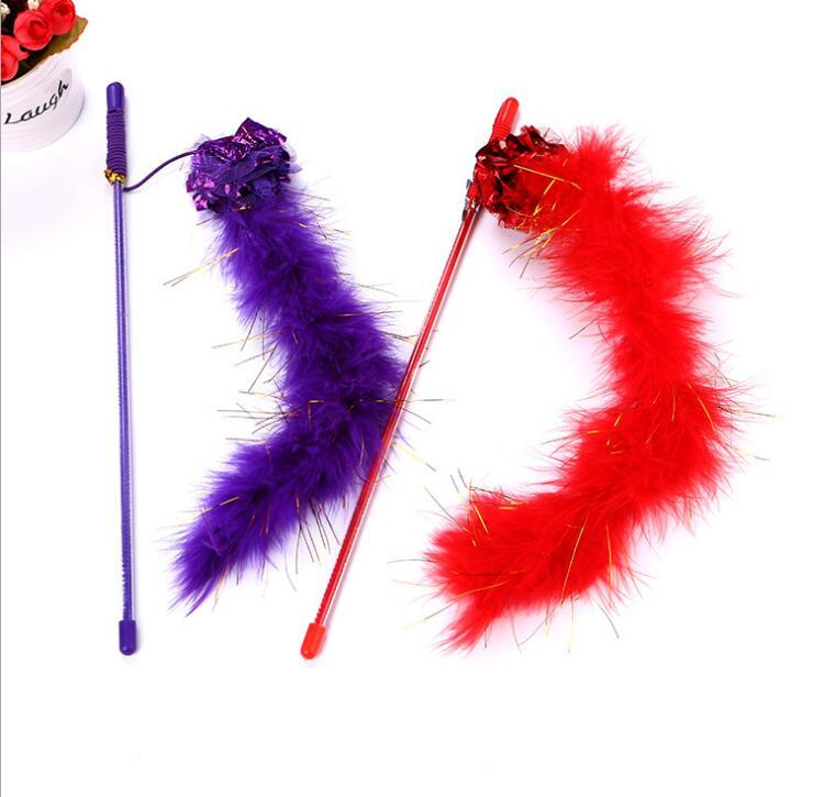 Pet cat toy funny cat stick ring paper ball feather funny rod short rod easy to pack