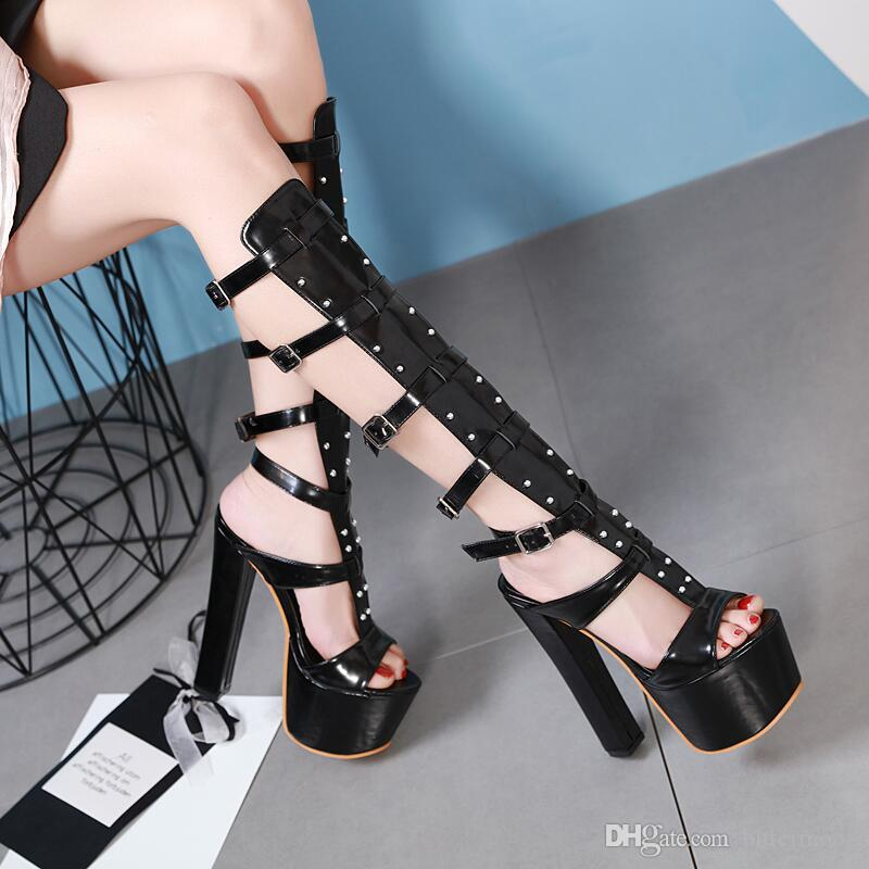 0a0db8355da2 2019 New Women Sandals Boots Platform Summer Heels High Heeled Shoes  Fashion Sexy Chunky Heel Open Toes Buckles Rivets Black 17cm Jelly Sandals  Platform ...