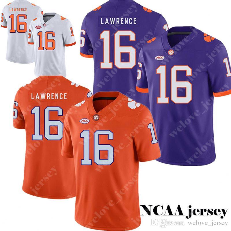 meet f41a3 195c2 Men's NCAA Clemson Tigers jersey 16 Trevor Lawrence Purple White Orange  2019 Cotton Bowl Jerseys