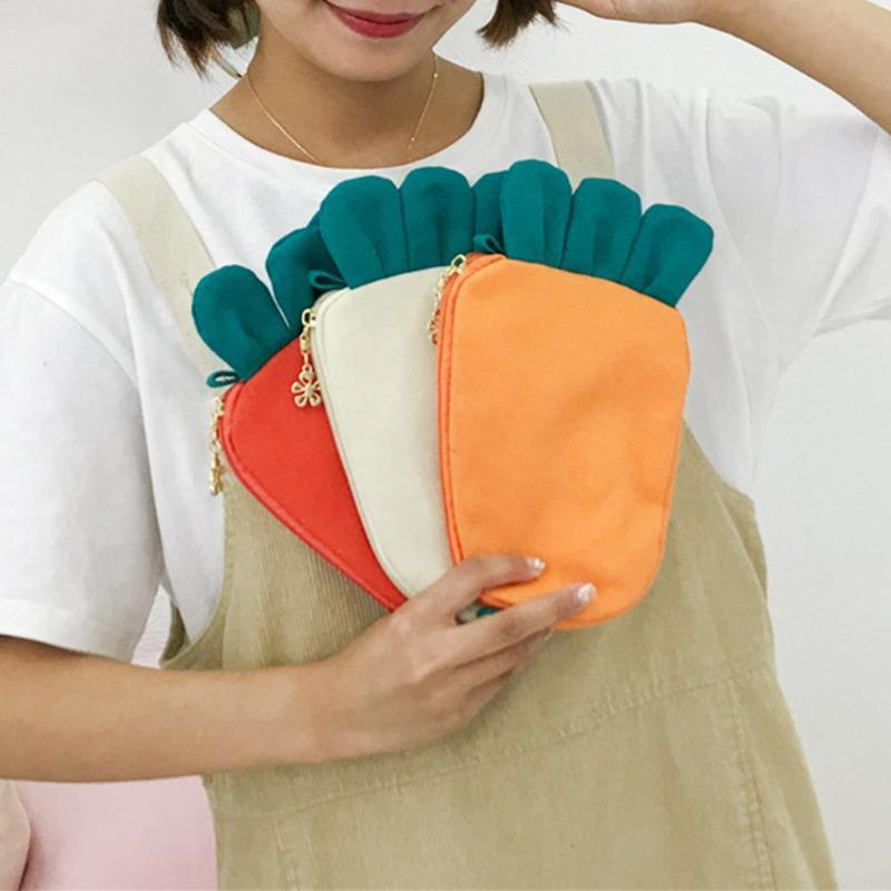 Cute Fashion Carrot Coin Кошелек Женский Японский Kawaii Плечо Сумка для Телефона Мини Искусство Холст Сумка Сцепления Новые Творческие Сумки