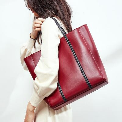 lady large capacity black burgundy tote handbag for women novelty big split leather one shoulder bag