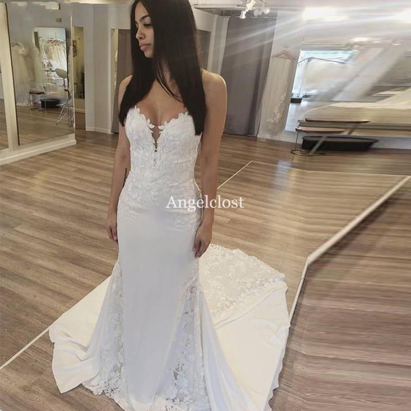 Charming Mermaid Wedding Dresses 2019 Strapless Zipper Back Sweep Train Lace Appliques Modern Bridal Gowns Vestido De Novia Customized
