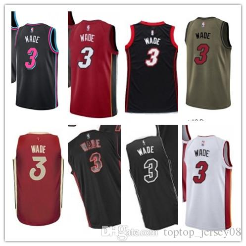 2018 Miami Basketball Wear Youth women Men s Heat 3 Dwyane Wade ... 47f383974