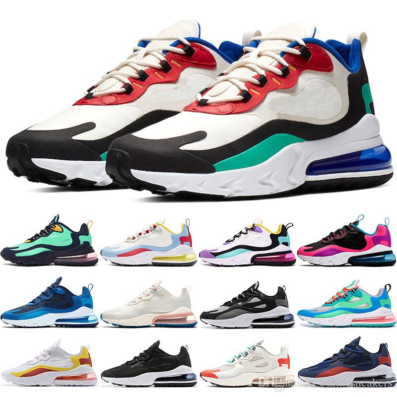 2019 React Men Women Running Shoes Bauhaus Optical Oreo White Deep Blue Designer Mens Trainers Breathable Sports Sneaker Size 36-45