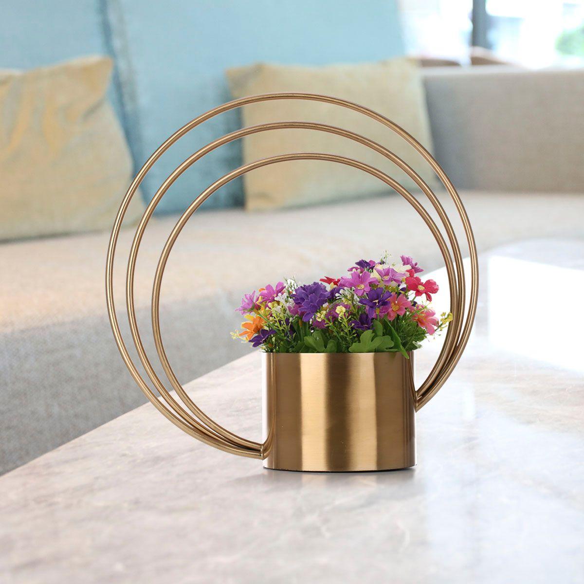 DHgate.com & Tooast Flower Pot Metal Ornament Cylinder Shape Handle Vase Fashionable Ornament Centerpiece for Home Wedding Table Decorative
