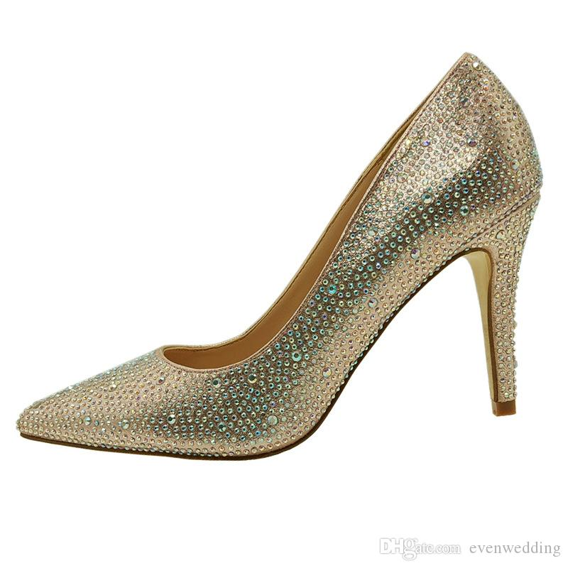 Crystal Stones High Heel Wedding Shoes 2020 Elegant Women Party Shoes Small Toe Ladies Pumps for Prom Evening Gowns
