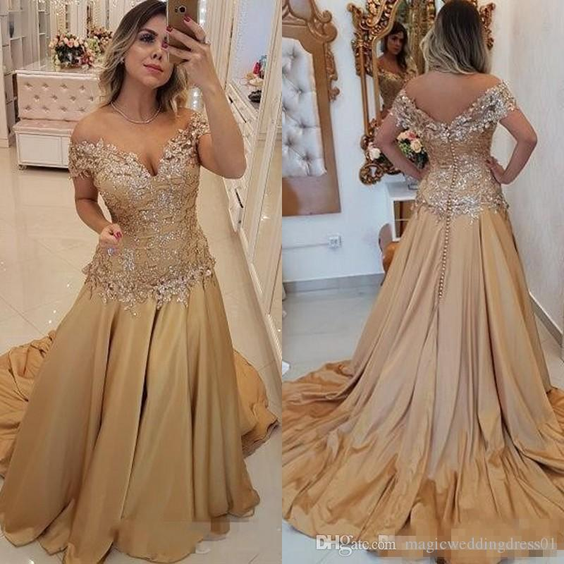 Elegant Off the Shoulder Prom Dresses 2019 Bead Lace Appliques Long Evening Gowns Cocktail Party Ball Bridesmaid Dress Formal Gown