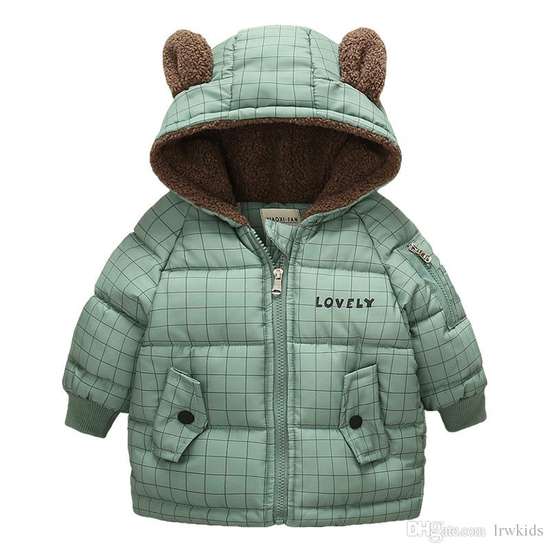 b8218068fbc1 Lovely Children Down Coat Bear Ear Lattice Printing Keep Warm Cotton ...