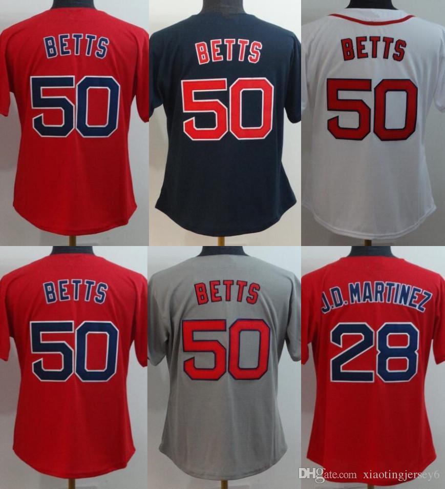 2019 2018 New Women 50 Mookie Betts Jersey 28 J.D. Martinez Blue White Red  Stitched Mookie Betts Women Baseball Jerseys Size  S 2XL From  Xiaotingjersey6 682b70ed843