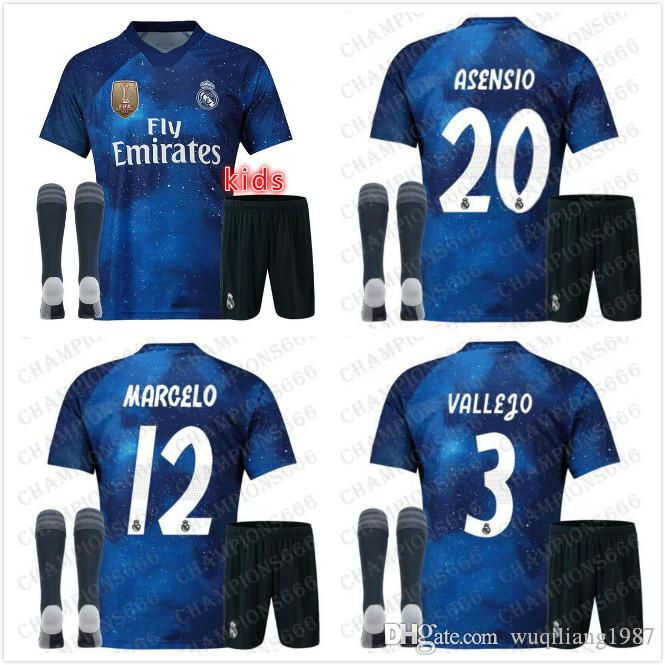 san francisco c6516 54680 top 2019 Real Madrid Kids kit special edition Soccer Jersey 18 19 Starry  blue EA SPORTS MARCELO ASENSI ISCO child Football shirt uniform