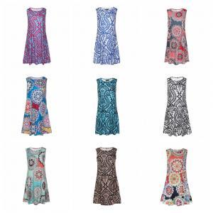 67b01a55794 Loose Print Swing Sleeveless Dress Women Round Neck daily Casual Short Shift  Dress Going Out Shift sexy party clothes TTA159