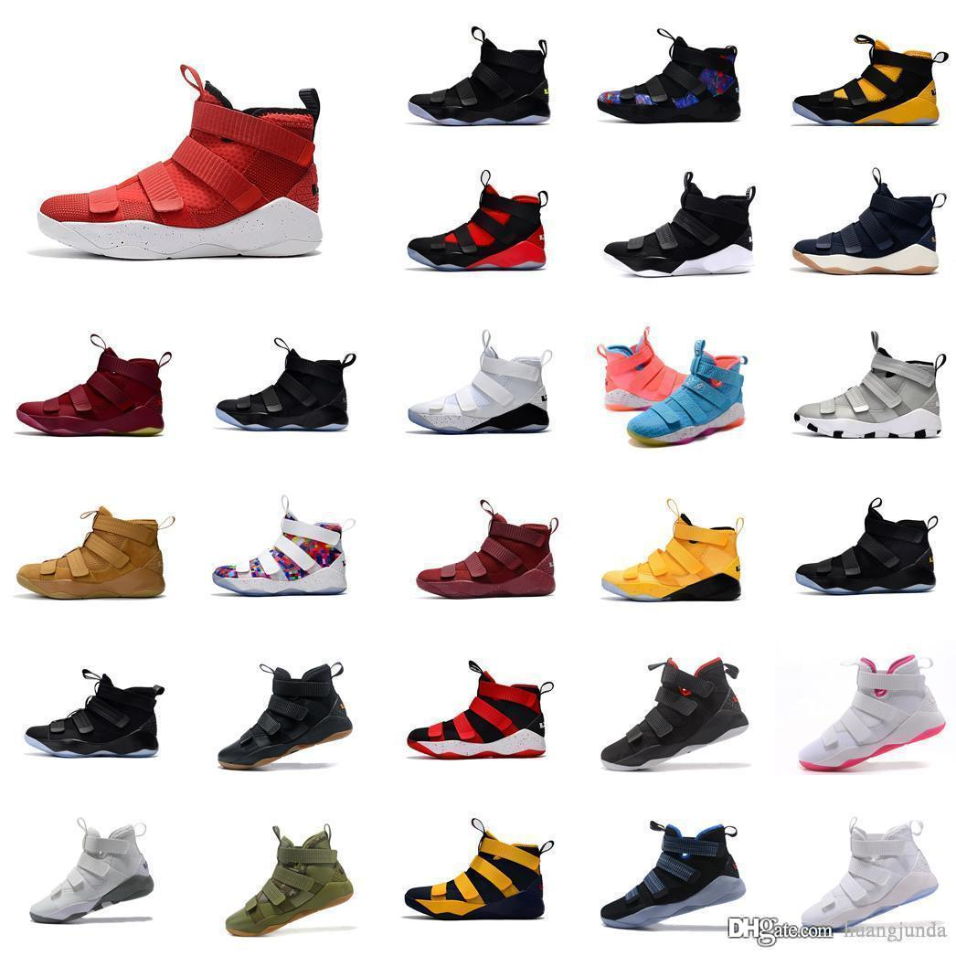 best authentic 91e1d 75986 Cheap mens lebron soldier 11 basketball shoes for sale Red Black Multi  color high tops lebrons soldiers sneakers tennis with box