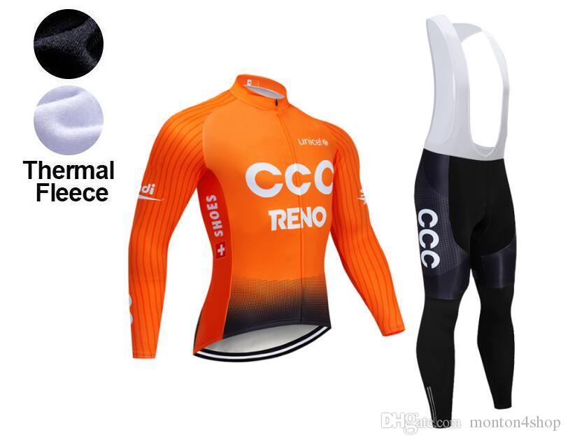 2019 Winter TEAM New CCC Thermal Fleece Cycling JERSEY Bike Pants ... 3e43c2c0f