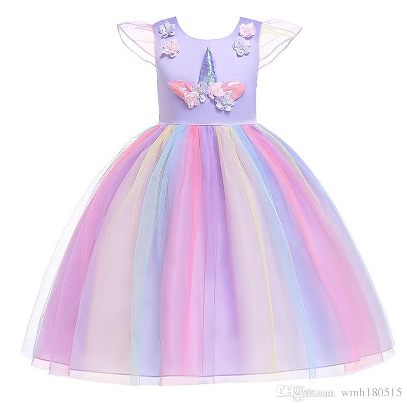 Girls Christmas Dress Licorne Party Girls arc-en-ciel robe Costumes élégants Robes de mariée d'été pour robes d'enfants